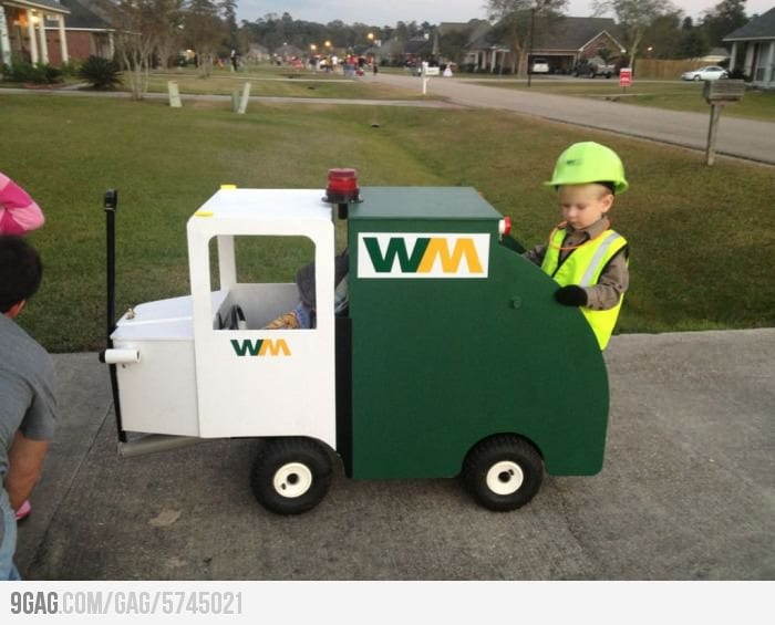 Garbage truck costume and dozens of more on wheels